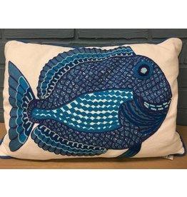 Midwest-CBK LLC Embroidered Fish Lumbar Pillow