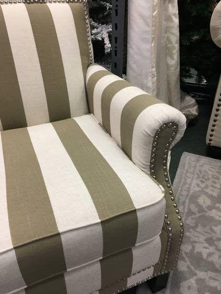 Randall Taupe/White Arm Chair w/ Nailhead Trim 29x33x32
