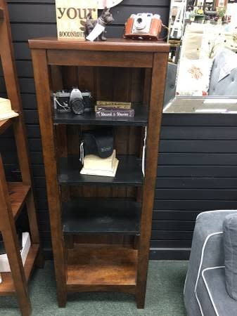 Small Dark Stained Bookcase W/ Black Shelves