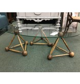 Oval Glass Top Cocktail Table w/ 3 Triangle Base