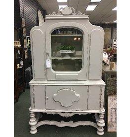 Vintage  Jacobean White China Cabinet