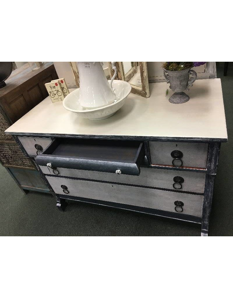two tone painted depression era dresser blue white with pearl