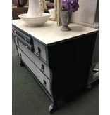 Two-Tone Painted Depression-Era Dresser, Blue & White with Pearl