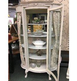 Vintage Gray Bow Front Curio Cabinet
