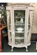 Vintage Gray Bow Front Curio Cabinet