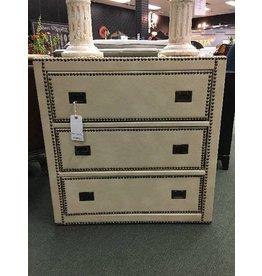 Nail Trim Tan Leather-like Dresser, 3-Drawer
