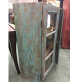 Rustic Blue Cabinet W/ Two Glass Front Doors