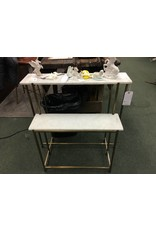 Marble Top 2 Tiered Console Table w/ Metal Base