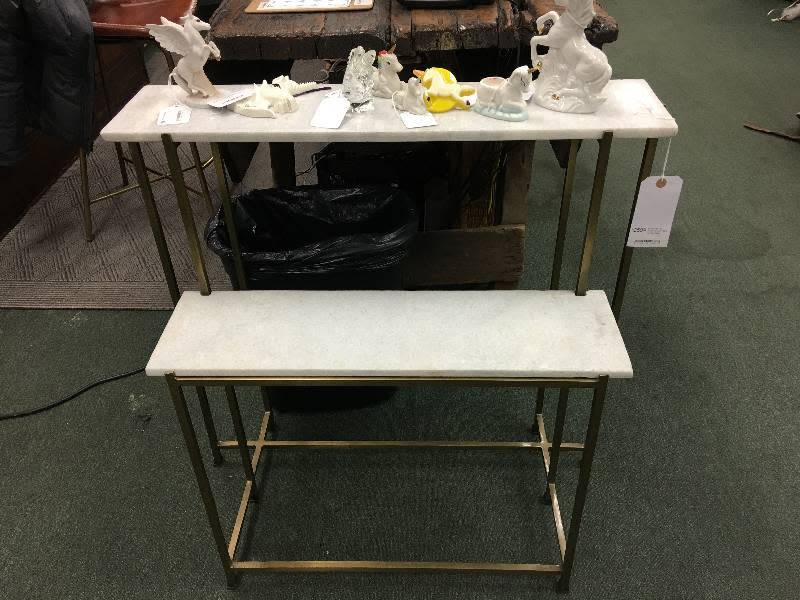 Marble Top Two Tiered Console Table w/ Metal Base