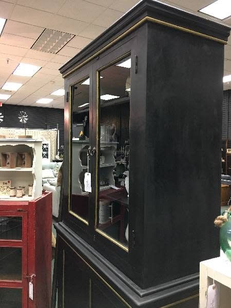 Black Directioire 2-Piece China Cabinet w/ Gold Trim