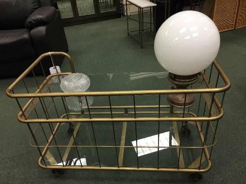 Glass & Brass 2-tier Industrial Style Cart