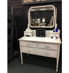 1920s White Painted Dresser w/ Gold Trim & Mirror