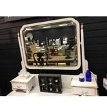 1920s White Painted Dresser w/ Gold Trim & Mirror