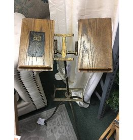 Vintage Brass and Wood Book Stand 18x18x40.5