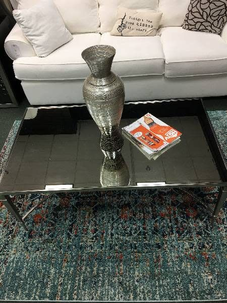 Mallory Glass and Nickel Cocktail Table
