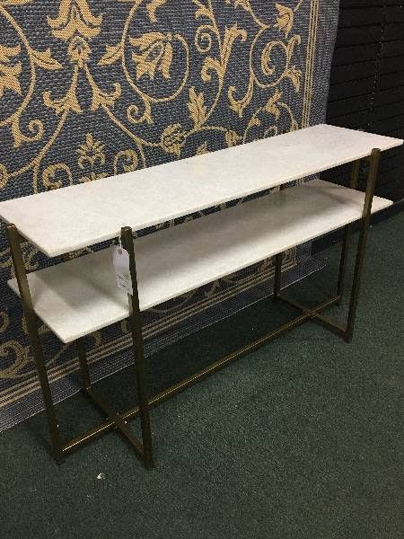 Marble Top Console w/ Metal Base