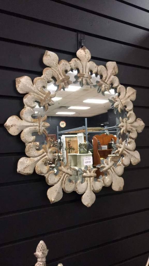 Round  Fleur De Lis Mirror, Metal