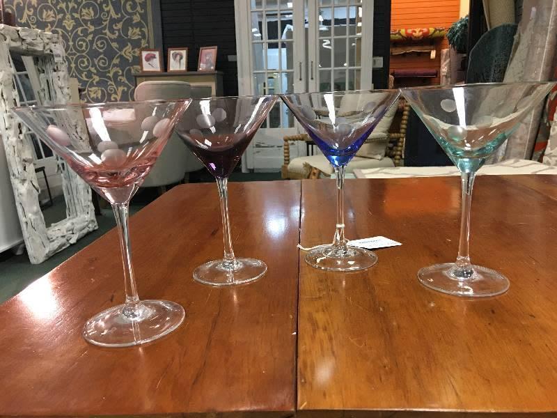 Set of 4 Multi-colored Stemmed Glasses