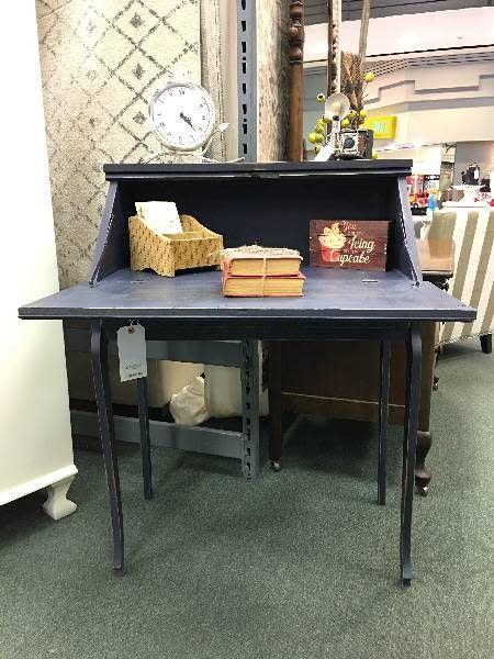 Petite Secretary Desk Painted w/ Drawer