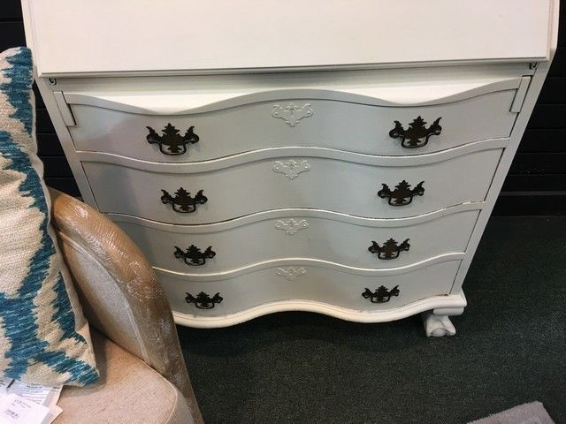 White w/ Teal painted drop-front secretary w/ bookcase top
