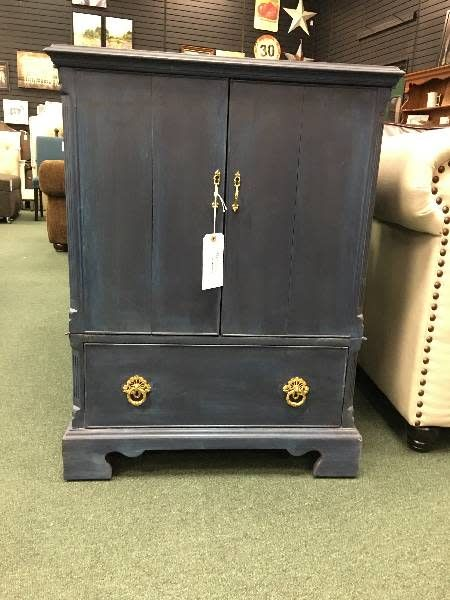 Vintage Blue Cabinet With Bi-fold Doors and one Drawer