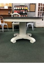 Round Ivory Painted Pedestal Table w 1 Leaf