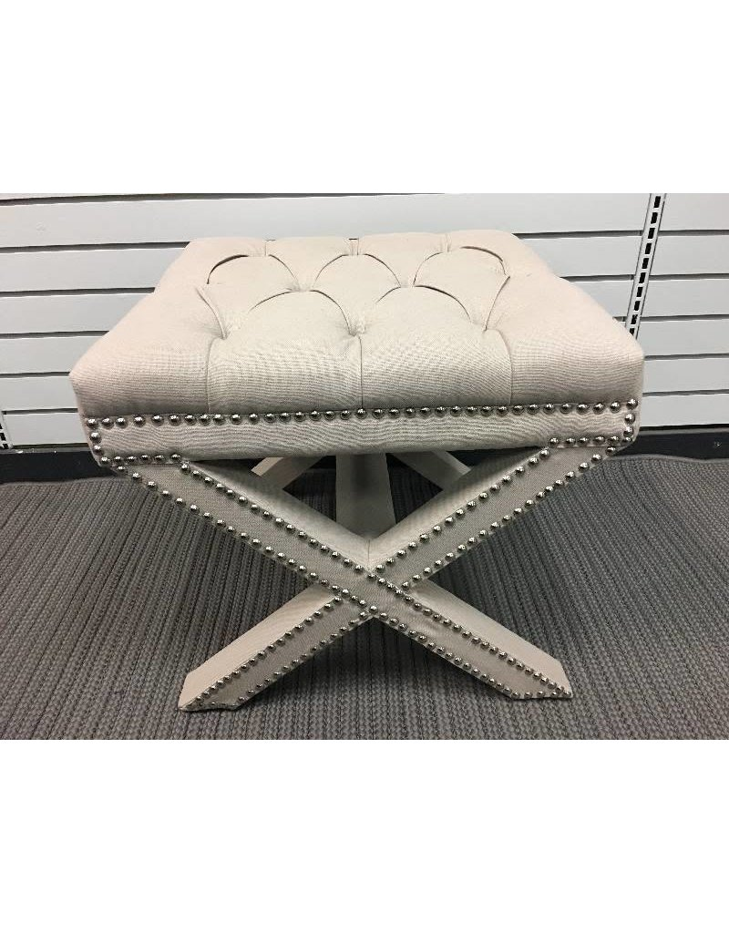 Patrice Beige Upholstered Ottoman