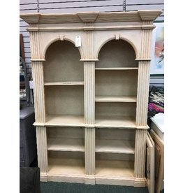 Vintage Bookcase w Arched Top in Antique Ivory Finish