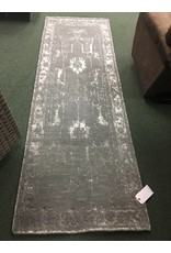 Hand-Knotted Olive Area Rug 2.6x8