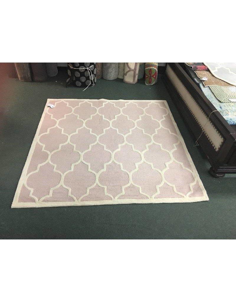 Cambridge Light Pink Wool Area Rug 6x6