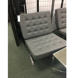 Gray Leatherette Barcelona Lounge Chair