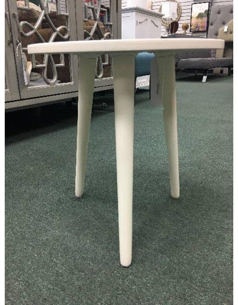 "Distressed White Three Leg 16.5"" Stool"