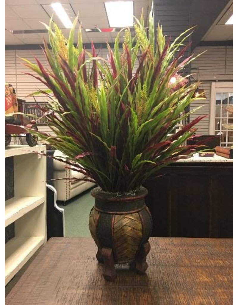 Autumn Foliage Grass in Footed Vase