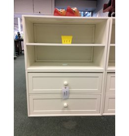 Small White Open Shelf Bookcase with 2 Drawers