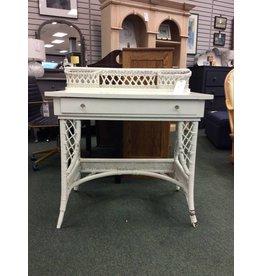 Vintage White Wicker Desk