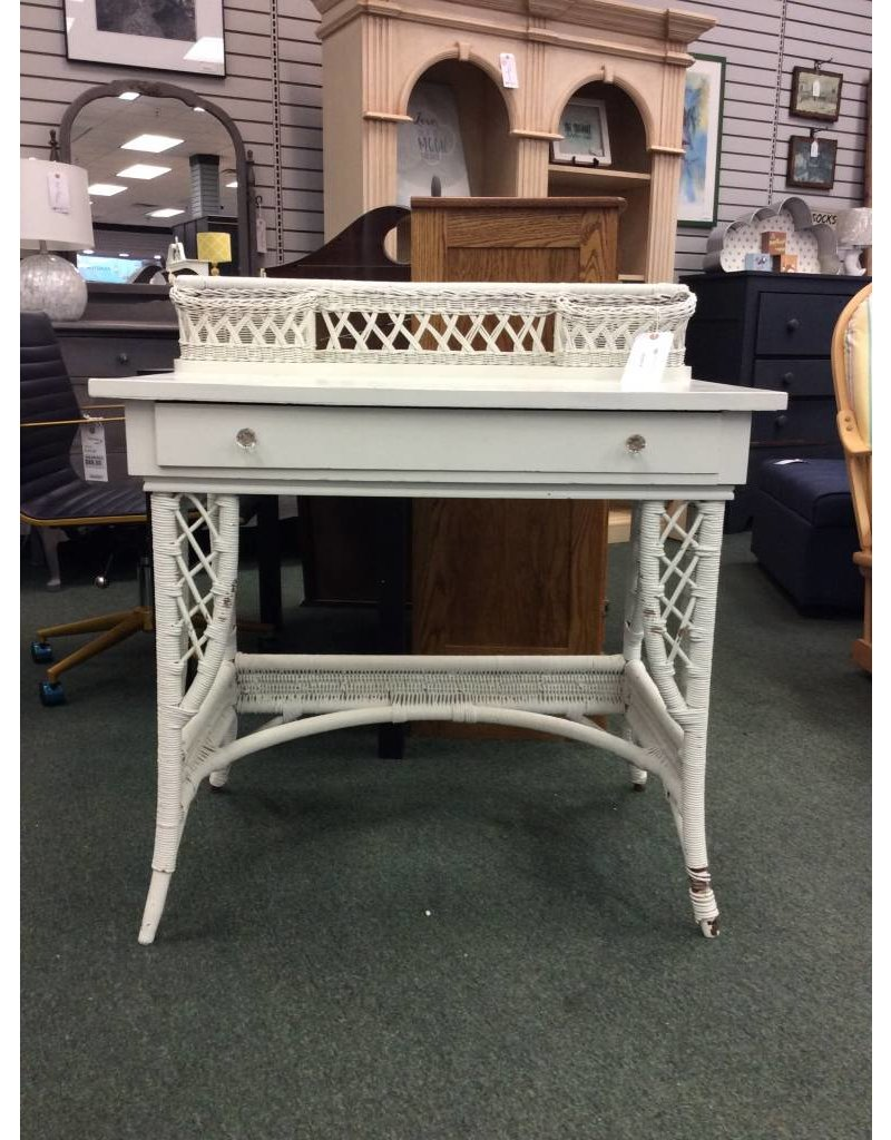 Vintage White Wicker Desk