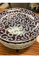 Set of 6 Decorative Dessert Plates w/ Stand