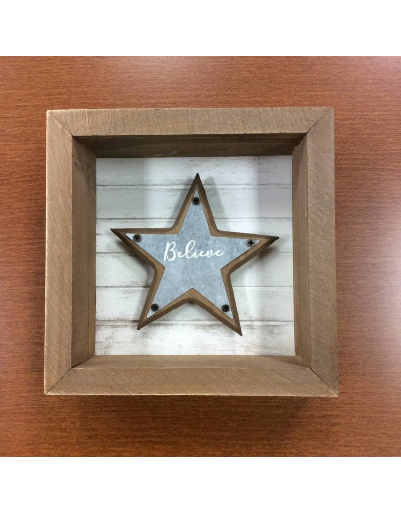 Believe, Family, Love Star Box Sign