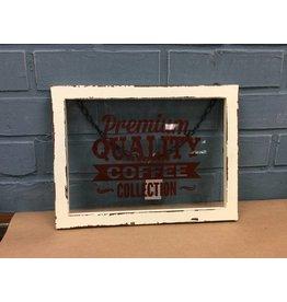 Framed Glass Coffee Sign w/ Hanger