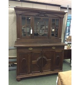 Antique Dark Oak China Cabinet