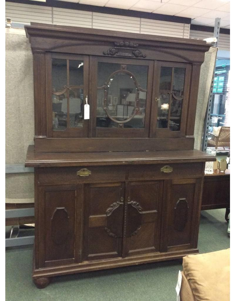 Antique Dark Oak China Cabinet ... - Antique Dark Oak China Cabinet - Heirloom Home