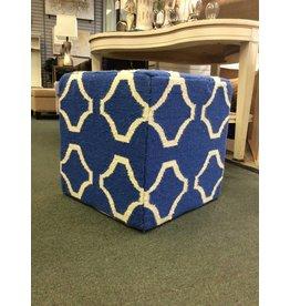 Geometric Royal Blue Patterned Wool Cube Ottomam