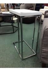 Mclaughlin White and Chrome End Table