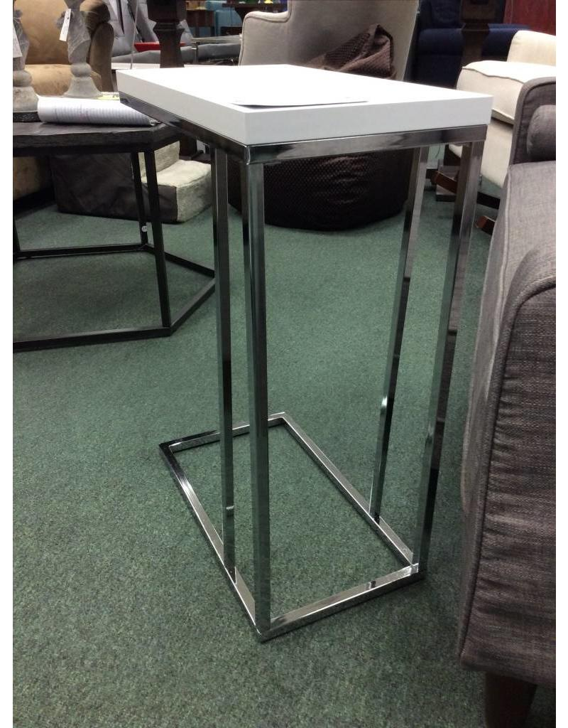 Wrought Studio Mclaughlin White and Chrome End Table