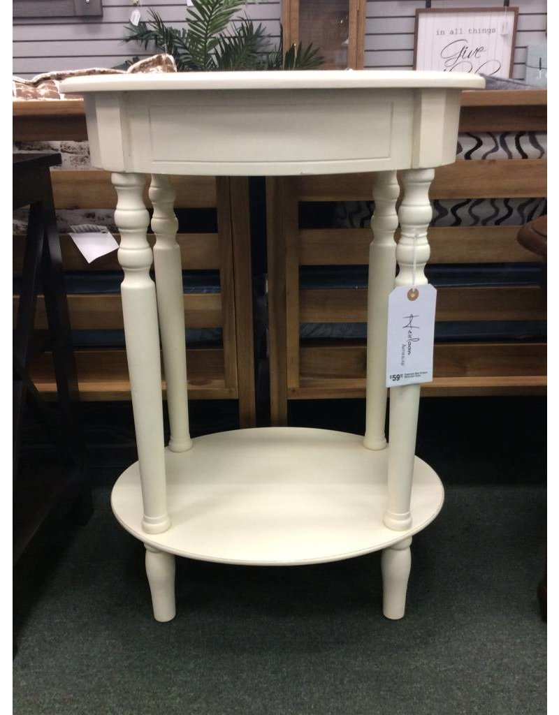 Crestmont Oval Antique White End Table