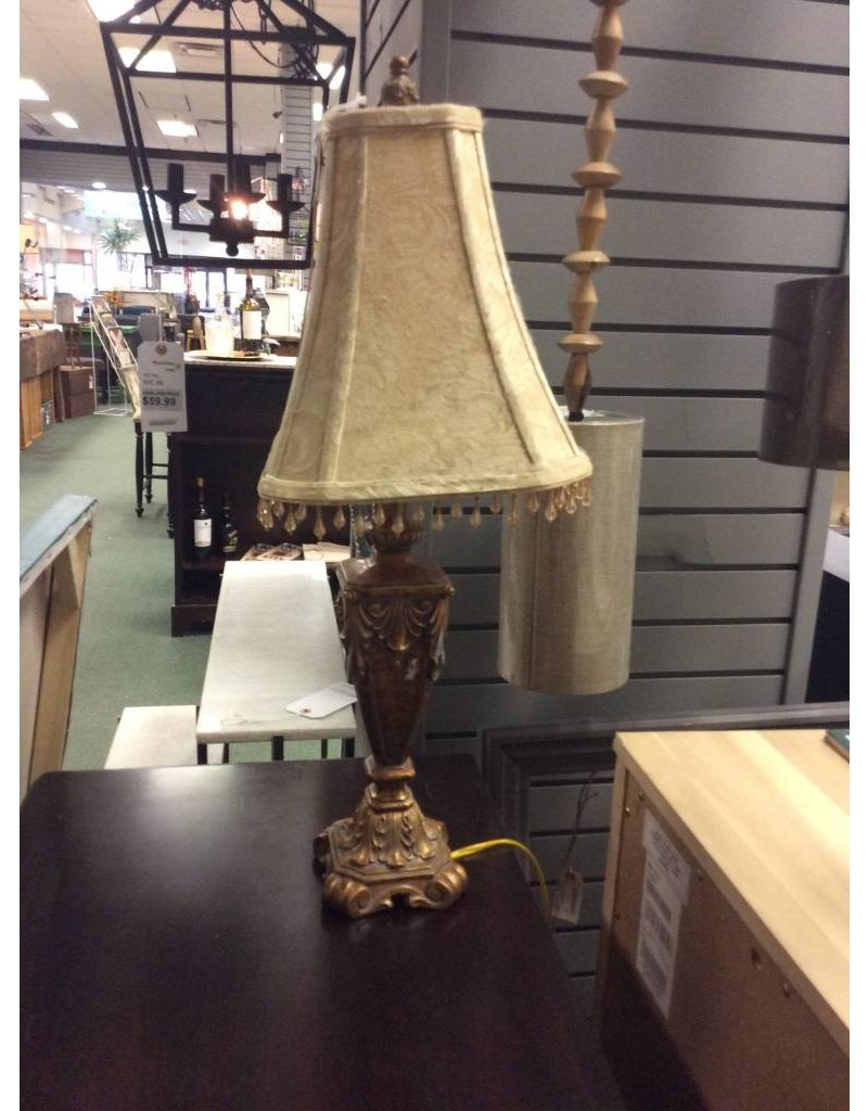 Vintage Lamp w/ Bead Trimmed Shade
