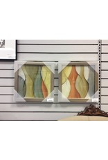 Set of 2 Square Orange, Green &Yellow Abstract Framed Prints