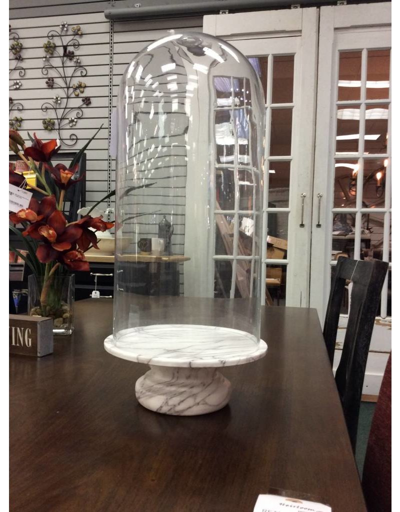 Glass Dome w/ Faux Marble Base Cloche