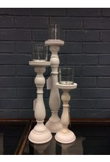 Shabby 3 Peice Glass/ Wood Candlestick Set