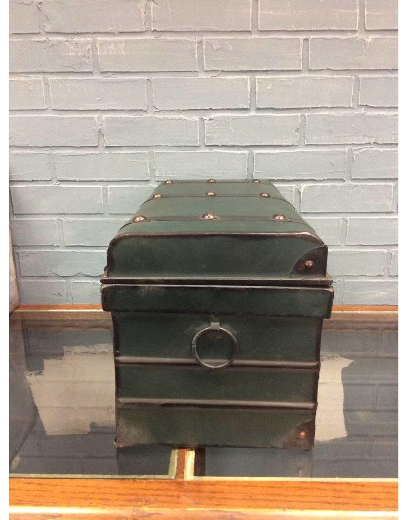 Vintage Style Green Metal Trunk